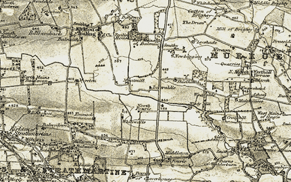Old map of Windy Mill in 1907-1908