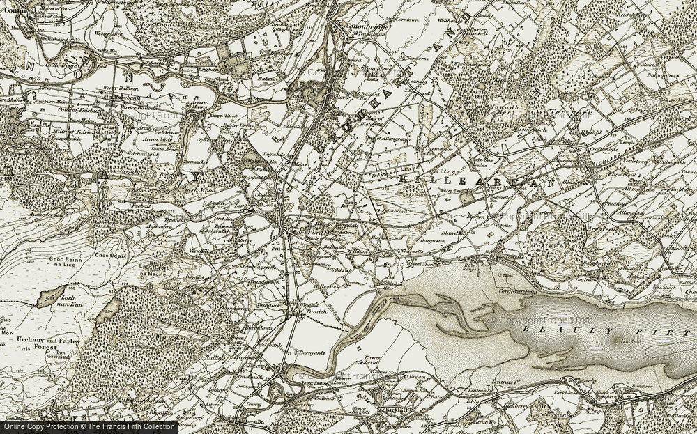 Old Map of Historic Map covering Balvattie in 1911-1912
