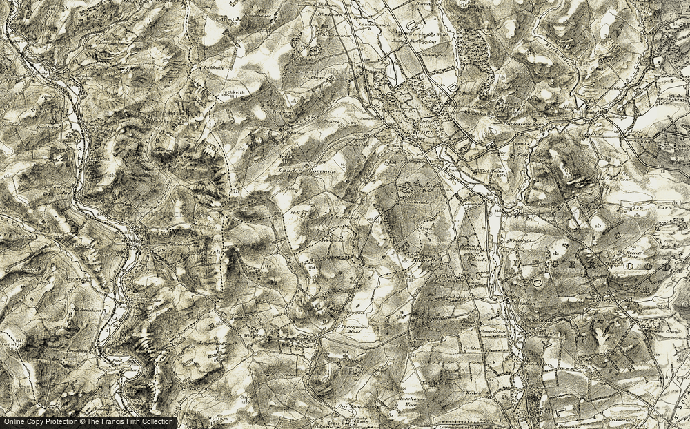 Old Map of Historic Map covering Lauder Common in 1901-1904