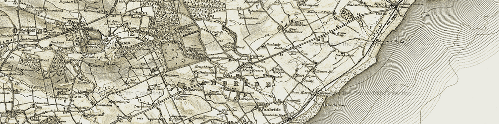 Old map of West Scryne in 1907-1908