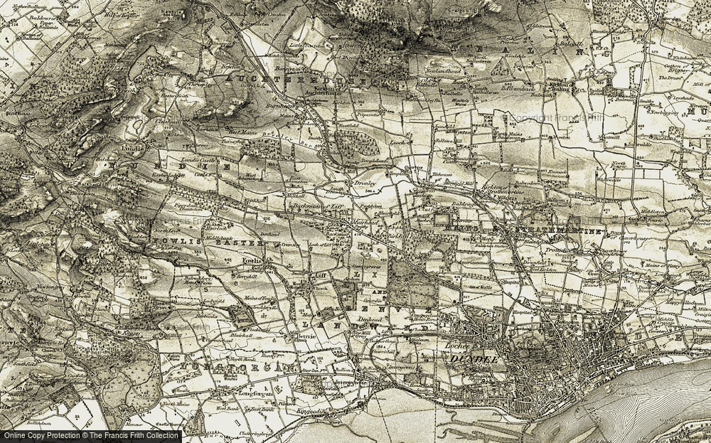 Old Map of Historic Map covering Backmuir Wood in 1907-1908