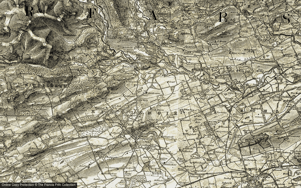 Old Map of Historic Map covering Auchlishie in 1907-1908