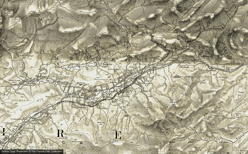 Old Map of Historic Map covering Lightshaw in 1904-1905