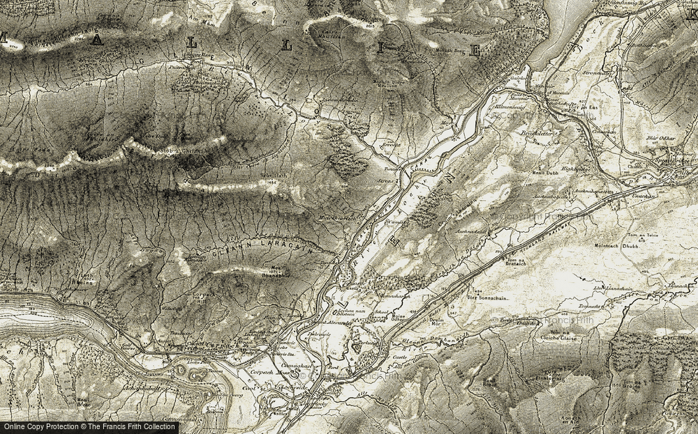 Old Map of Historic Map covering Allt Coire an Lightuinn in 1906-1908