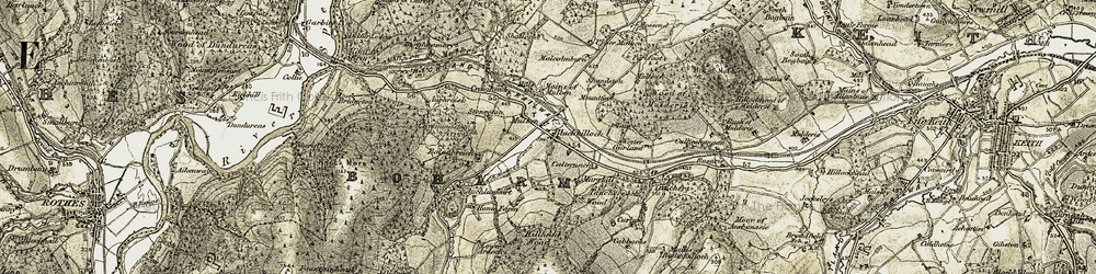 Old map of Wood of Mulderie in 1910