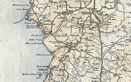Old map of Mullion in 1900