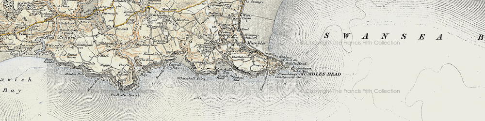 Old map of Mumbles, The in 1900-1901
