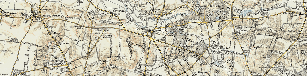Old map of Mundford in 1901