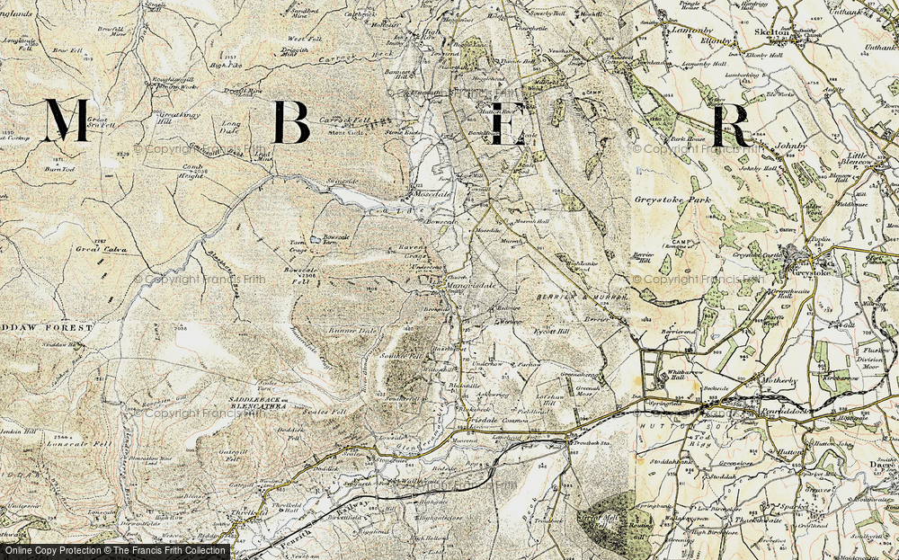Old Map of Historic Map covering Bannerdale in 1901-1904