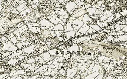 Old map of Balnaguie in 1911-1912