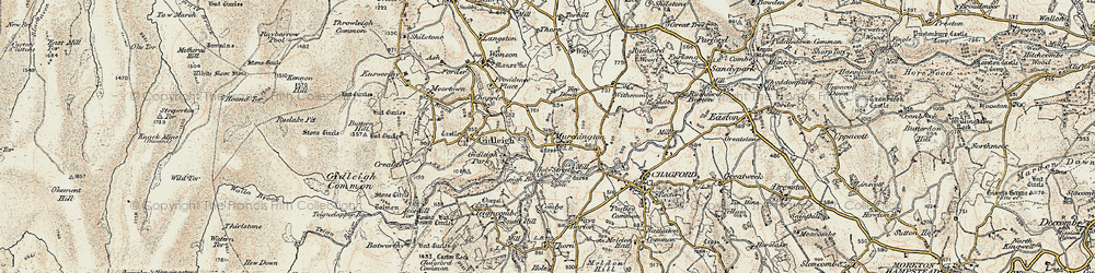 Old map of Withecombe in 1899-1900