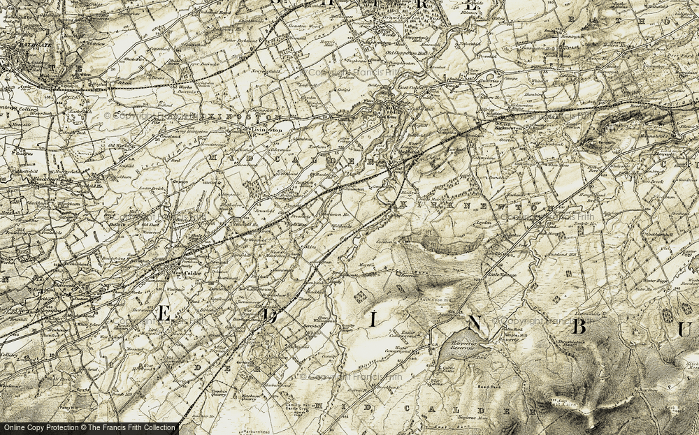 Old Map of Historic Map covering Linnhous in 1904-1905