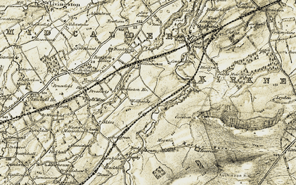 Old map of Linnhous in 1904-1905