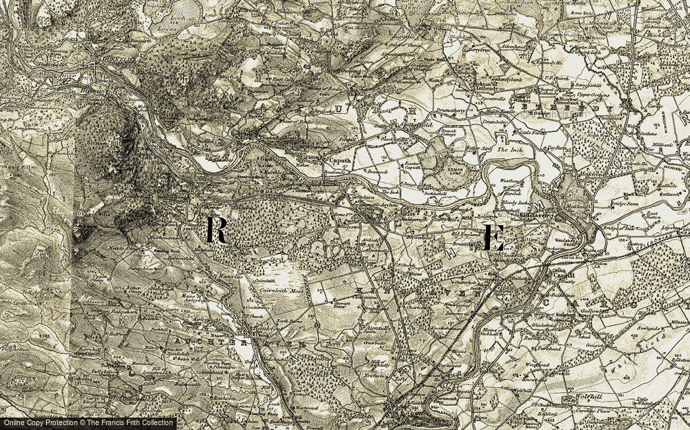 Old Map of Historic Map covering Baldarroch in 1907-1908