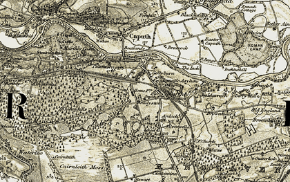 Old map of Murthly in 1907-1908