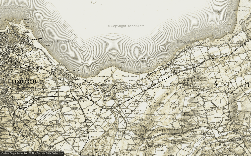 Old Map of Historic Map covering Ash Lagoons in 1903-1904