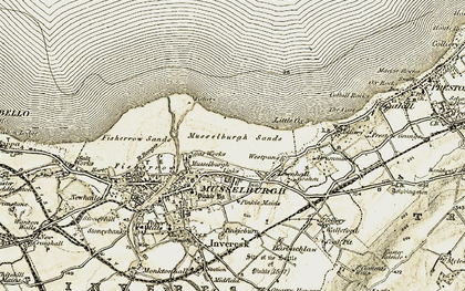 Old map of Musselburgh in 1903-1904