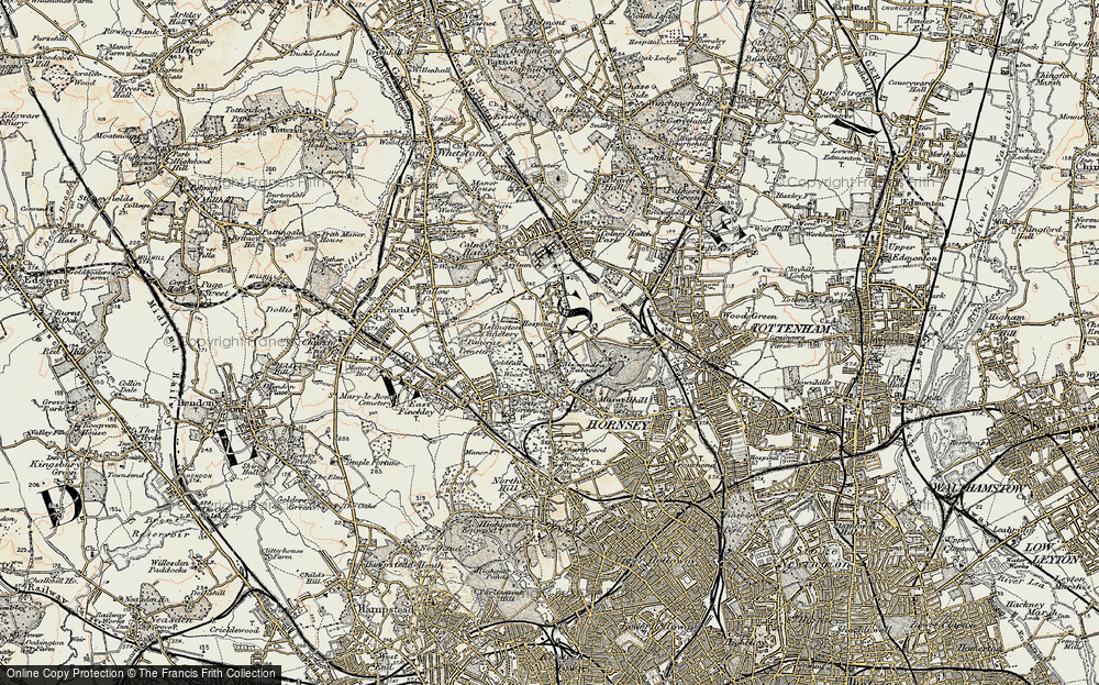 Old Map of Historic Map covering Alexandra Palace in 1897-1898