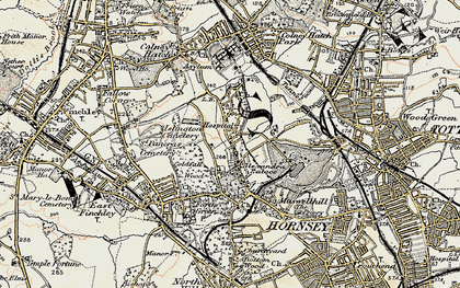 Old map of Alexandra Palace in 1897-1898