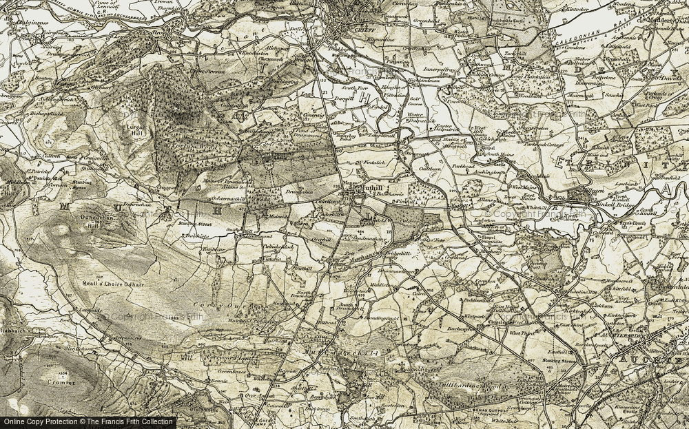 Old Map of Historic Map covering Leadmachany in 1906-1907
