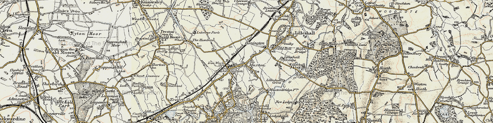 Old map of Lilleshall Grange in 1902