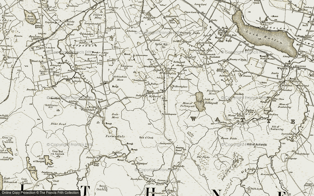 Old Map of Historic Map covering Backlass Moss in 1911-1912