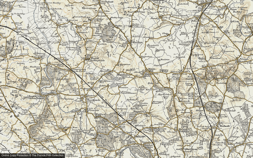 Old Map of Historic Map covering Leasows, The in 1902