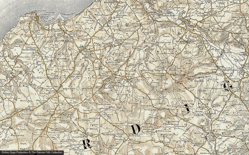 Old Map of Historic Map covering Afon Mydr in 1901-1903