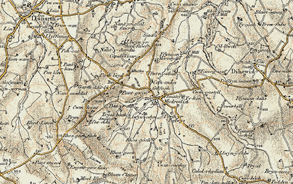 Old map of Afon Mydr in 1901-1903