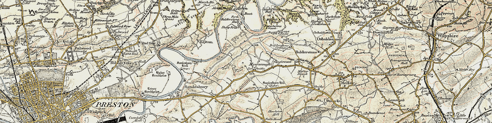 Old map of Alston Old Hall in 1903