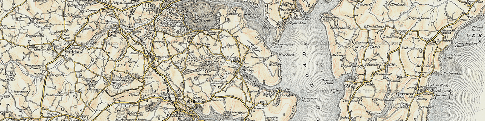 Old map of Mylor Bridge in 1900