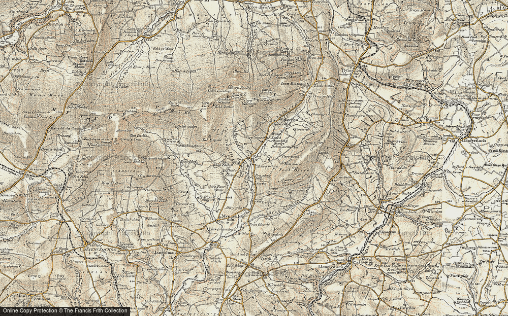 Old Map of Historic Map covering Allt-y-gôg in 1901
