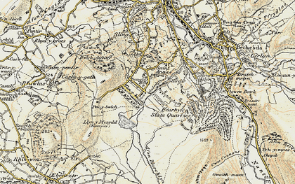 Old map of Afon Marchlyn-mawr in 1903-1910