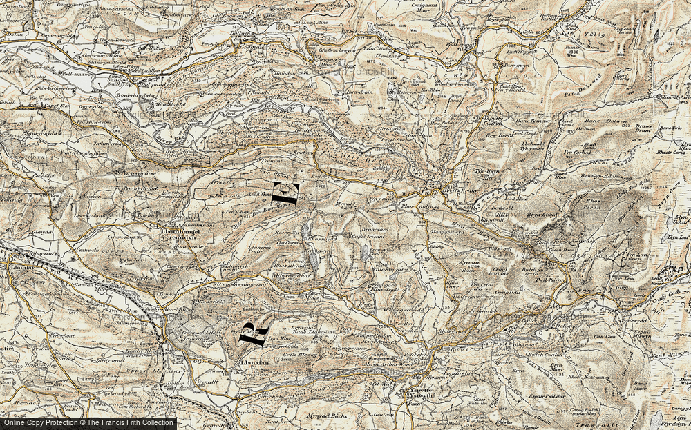 Old Map of Historic Map covering Banc Blaen Magwr in 1901-1903
