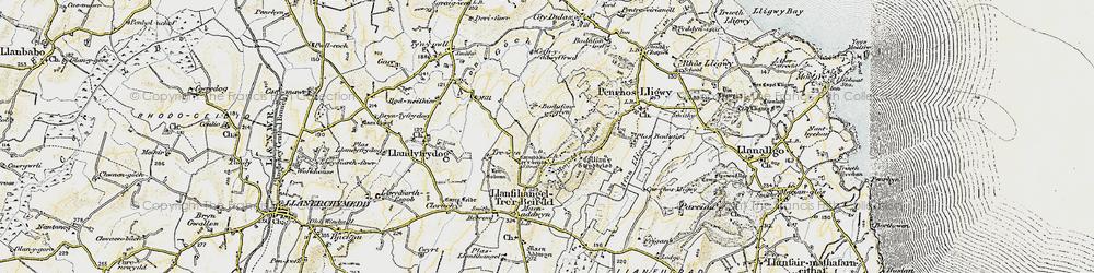 Old map of Afon Lligwy in 1903-1910