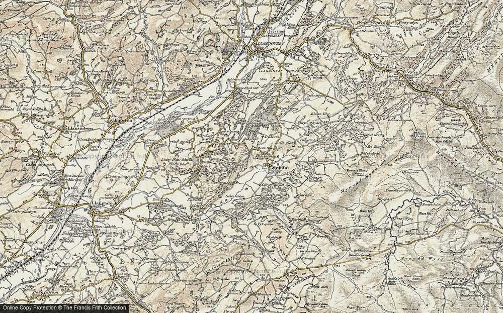 Old Map of Historic Map covering Afon Ydw in 1900-1901