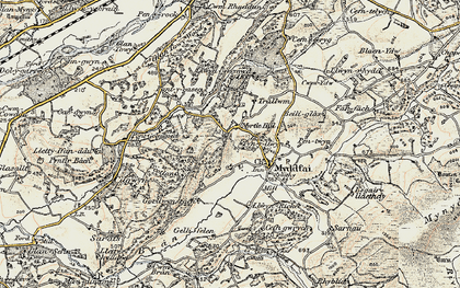 Old map of Afon Ydw in 1900-1901