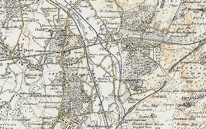 Old map of Mytchett in 1897-1909