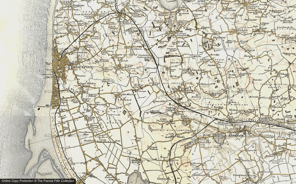 Old Map of Historic Map covering Todderstaffe Hall in 1903-1904