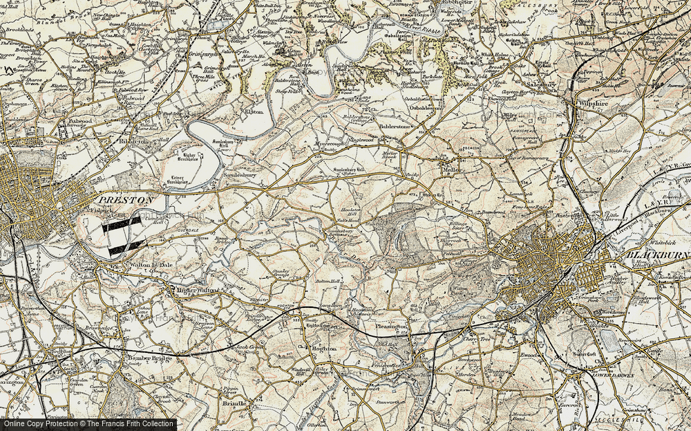 Old Map of Historic Map covering Woodfold Hall in 1903