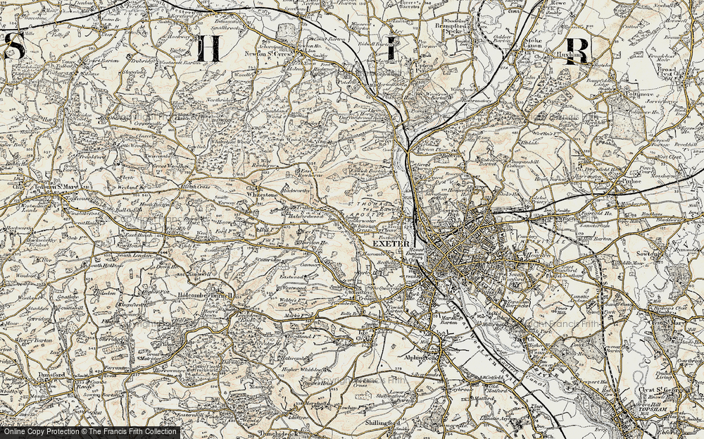 Old Map of Historic Map covering Alphin Brook in 1899