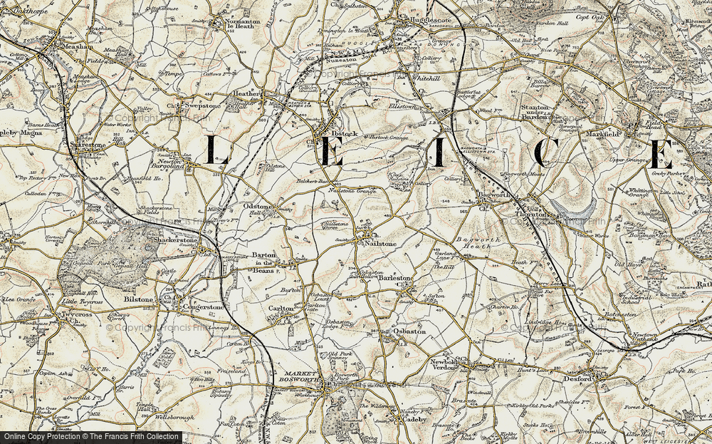 Old Map of Nailstone, 1902-1903 in 1902-1903