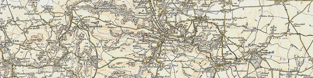 Old map of Nailsworth in 1898-1900