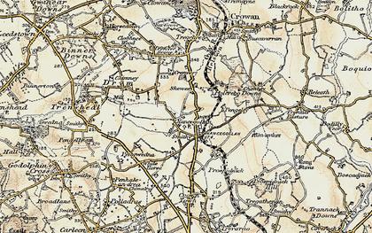 Old map of Nancegollan in 1900