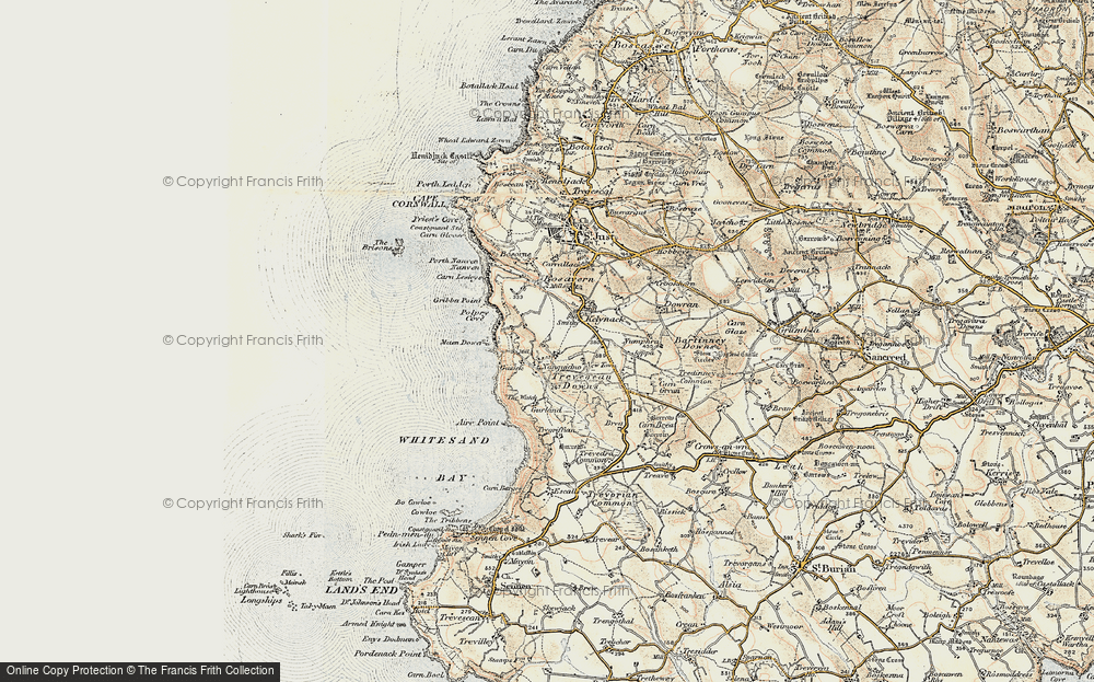 Old Map of Historic Map covering Aire Point in 1900