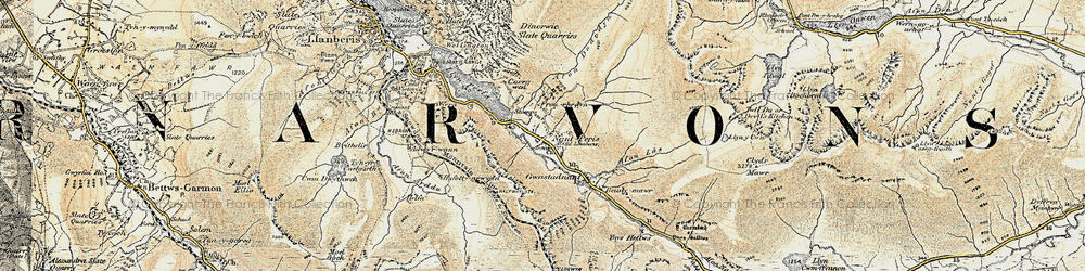 Old map of Nant Peris in 1903-1910
