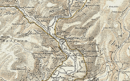 Old map of Ystradffin in 1900-1902