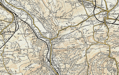 Old map of Nantgarw in 1899-1900