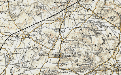 Old map of Willoughbridge Lodge in 1902