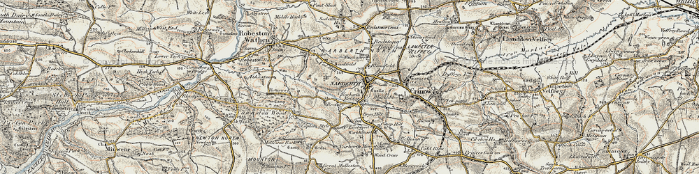 Old map of Narberth in 1901